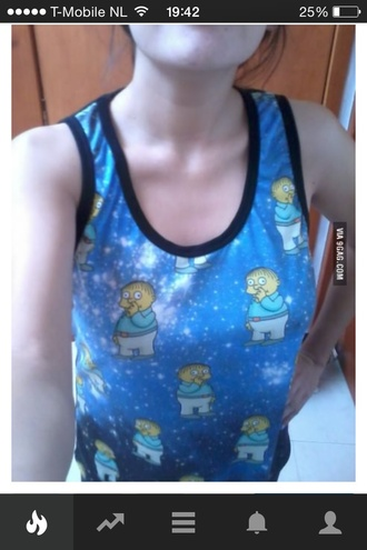 the simpsons ralph top tank top galaxy print