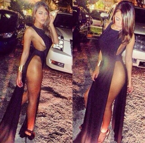 dress see through black slit high split