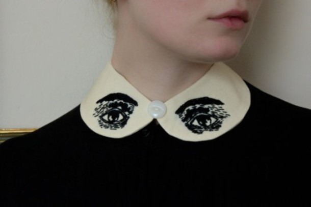 shirt colorful type eyes embroidering collar decoration cute weird strange black and white chic classic