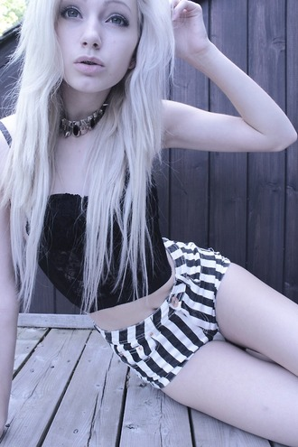 shirt clothes tumblrr blonde hair pale hipster grunge stripes corset corset top black lace strapless top top strapless shirt lace shirt lace top lace corset black corset girl black and white black bikini fashion necklace jewelry tumblr tumblr clothes tumblr top tumbllr shorts tumblr shorts blouse shorts silver hair bustier bustier crop top