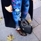 shoes,tumblr,burgundy,ankle boots,buckle boots,buckles,susanna boots,bag,black bag,denim,jeans,blue jeans,customized,coat