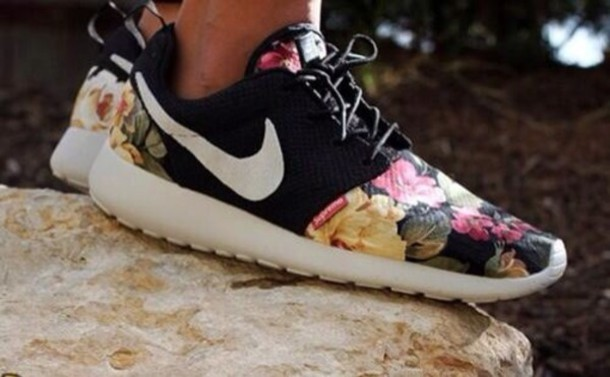 Shoes Nike Nike Shoes Flowers Floral Black White
