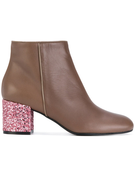 Pollini glitter women ankle boots leather brown shoes