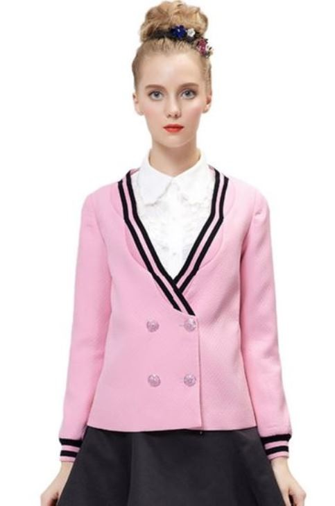 Pink double breasted jacquard long sleeve blazer