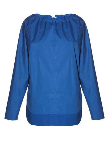 MARNI Tie-back coated-poplin blouse in blue