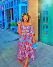 skirt,wrap ruffle skirt,floral skirt,crop tops,off the shoulder top,handbag,sandals