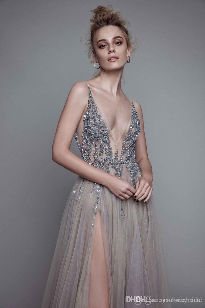 4744b30e4c938 2017 New Sexy Paolo Sebastian Evening Dresses Deep V Neck Sequins Tulle  High Split Long Gray Evening Gowns Sheer Backless Prom ...