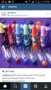make-up,lip balm,soda,gloves,lip gloss,lipstick,coca cola,pepsi