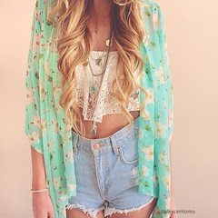 Floral Crop Sleeves Kimono - Sky-blue - Lookbook Store