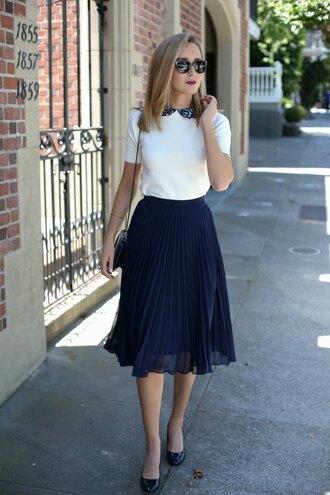 memorandum blogger sweater skirt shoes bag jewels sunglasses