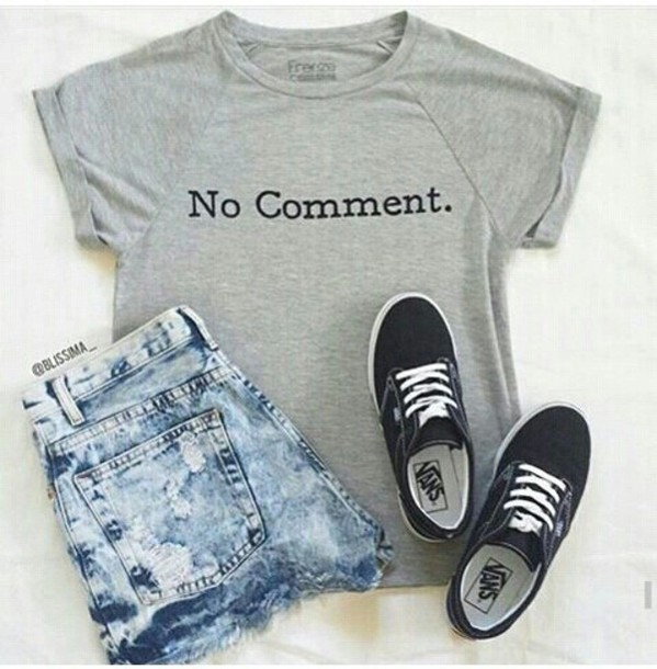 a8d3be73f7d shirt grey outfit summer denim no comment. grey t-shirt shorts sneakers dark  blue