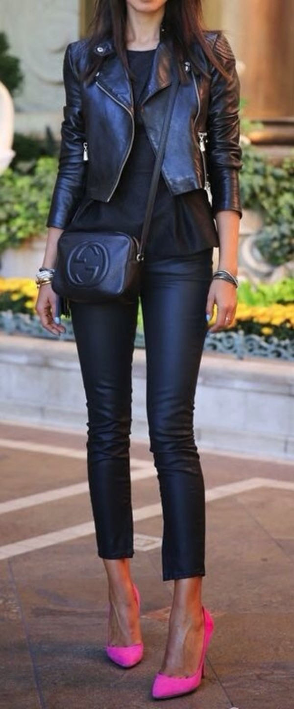 leather pants pink heels high heels all black everything jacket pink pumps gucci leather jacket black leather jacket crossbody bag black leather pants stilettos peplum top viva luxury blogger