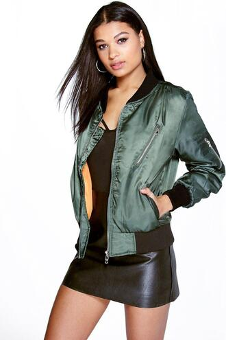 jacket bomber jacket green bomber jacket boohoo bomber 36683