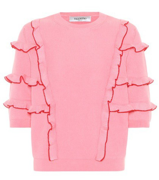 Valentino sweater ruffle cotton pink