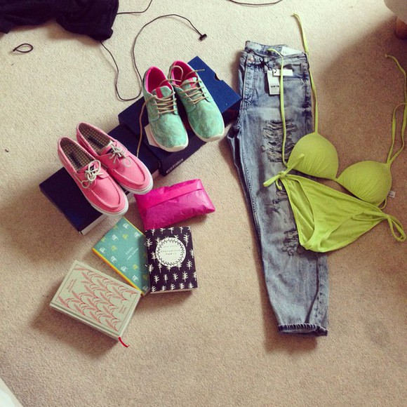 green bikini neon vibrant jeans trainers topsiders sperry etnies topshop party books presents jeans, cropped, ripped, light wash, denim
