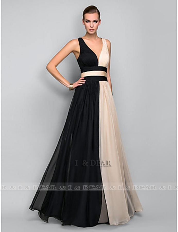 Aliexpress.com : buy 2014 women sexy a line v neck backless chiffon long prom dresses elegant evening dress party dresses gown custom made size z100 from reliable dress lollipop suppliers on i&dear evening dress