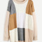 Color block cable knit long sweater -shein(sheinside)