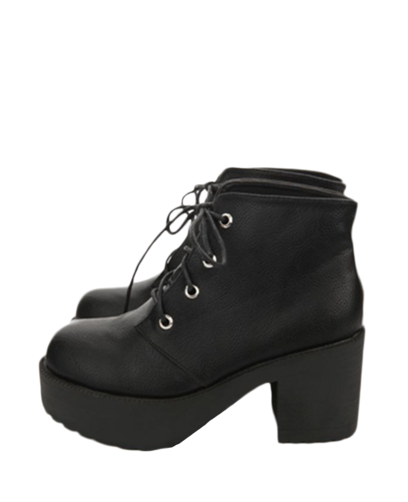 toe Lace-up Platform Black Ankle Boots