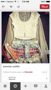 shoes,denim,aztec,red,orange,converse,long necklace,cut off shorts,white crop tops,knit cardigan sweater beige,sweater,shorts,shirt,skirt