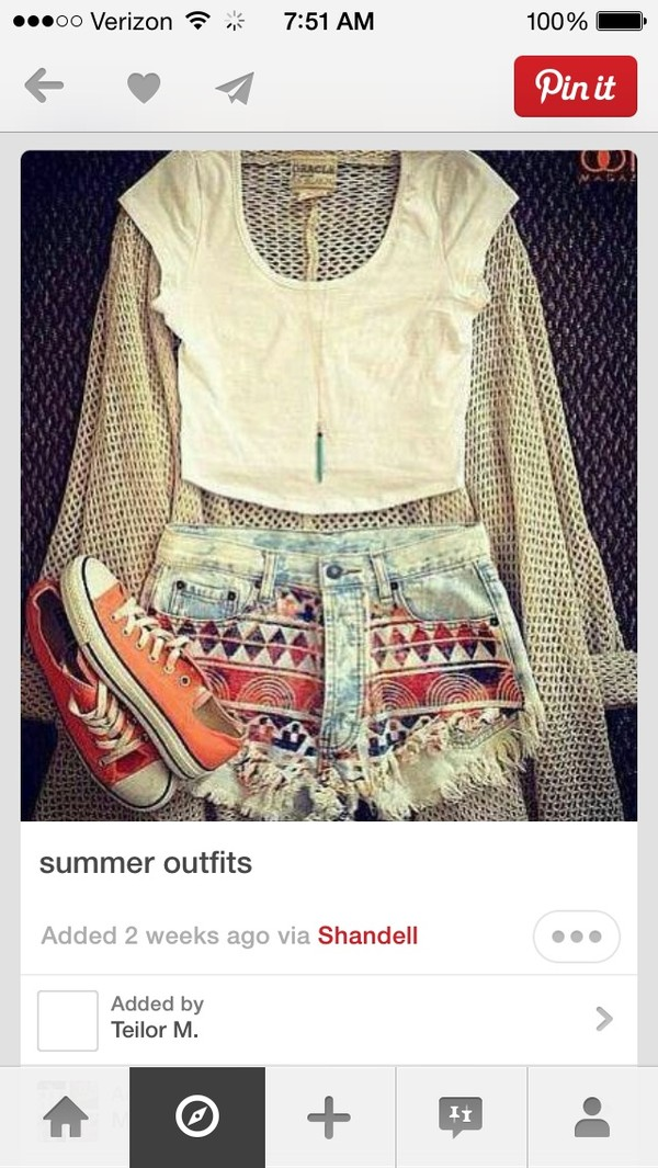 shoes denim aztec red orange converse long necklace cut off shorts white crop tops knit cardigan sweater beige sweater shorts shirt skirt