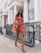 dress,red dress,floral dress,floral,backless dress