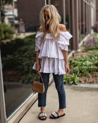 top ruffled top tumblr ruffle white top off the shoulder off the shoulder top denim jeans blue jeans bag shoes embellished slide shoes