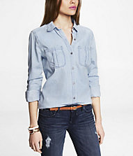 LIGHT WASH DENIM SHIRT | Express