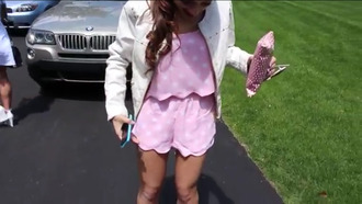 baby pink white romper pacsun pink pink dress pink romper polka dots two-piece short tank top scalloped