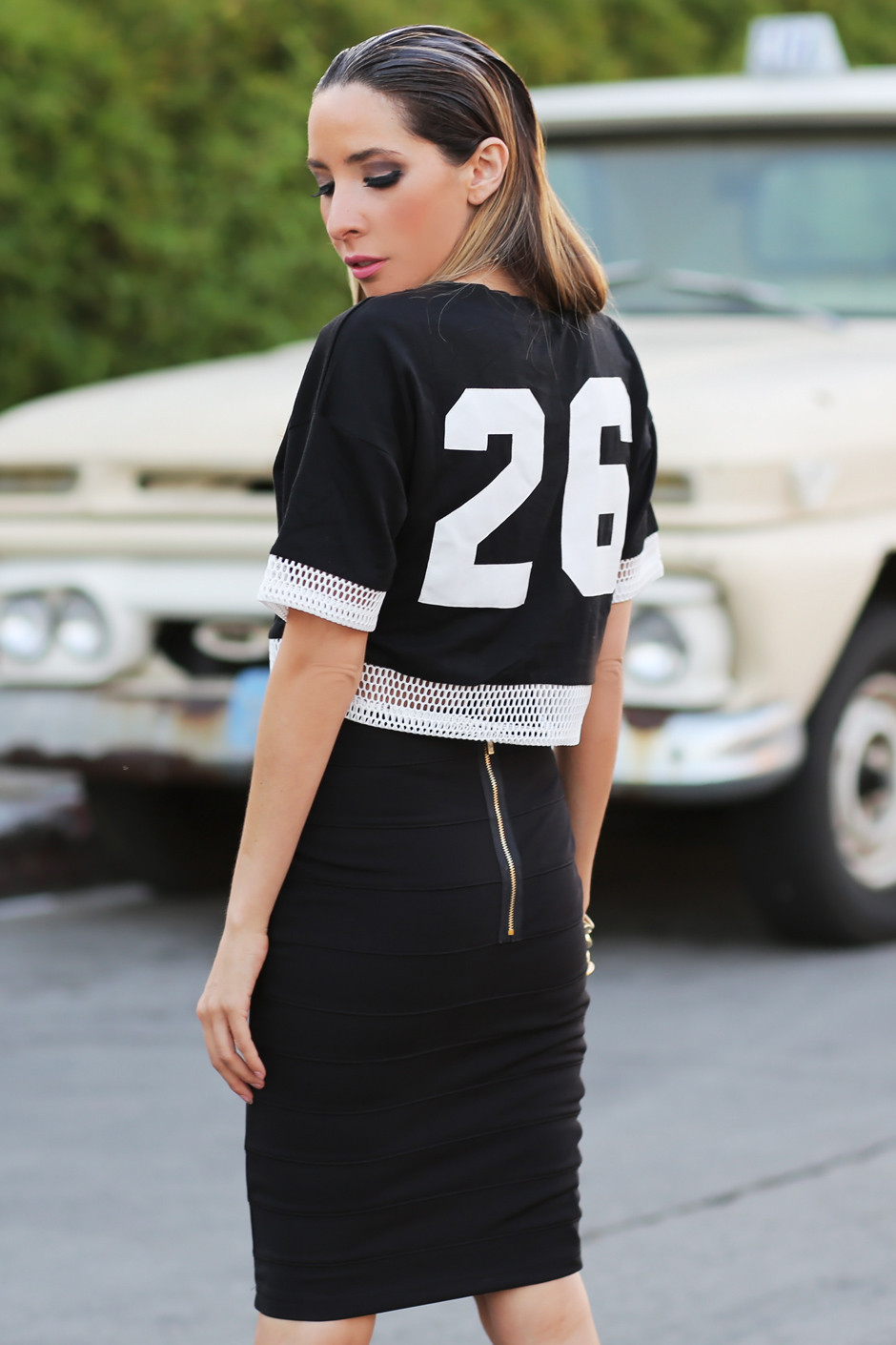 #26 MESH TRIMMED CROP TOP | Haute & Rebellious