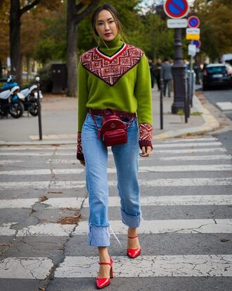 sweater tumblr streetstyle green sweater turtleneck turtleneck sweater denim jeans blue jeans shoes red shoes bag mini backpack backpack