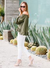 sydne summer's fashion reviews & style tips,blogger,top,jeans,jewels,bag,sunglasses,shoes,off the shoulder,green top,long sleeves,white jeans,skinny jeans,white pants,lace up heels,nude heels,dress,sweater