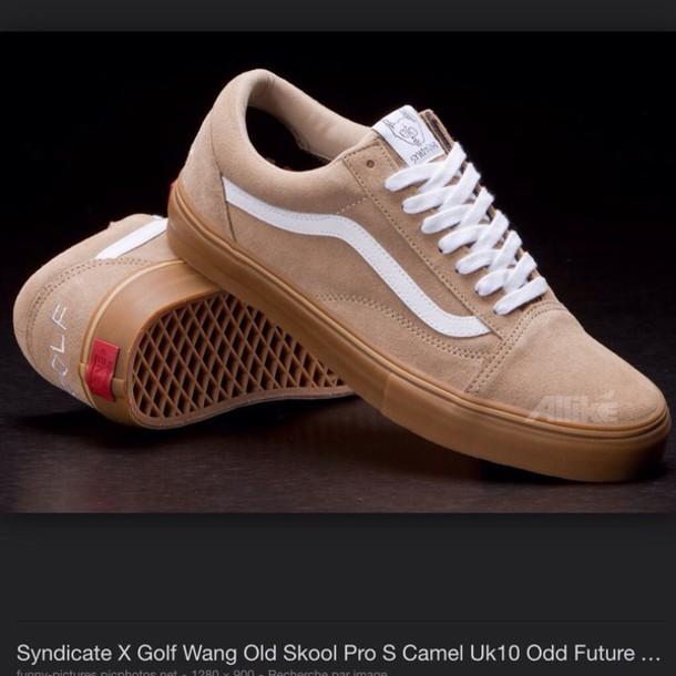 shoes odd future golf wang vans oldskool jacket sneakers beige shoes old skool golf wang syndicate suede sneakers