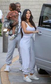 pants,sweatpants,grey,white tank top,tank top,kim kardashian,kardashians,top