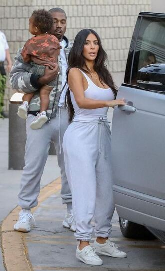 pants sweatpants grey white tank top tank top kim kardashian kardashians top