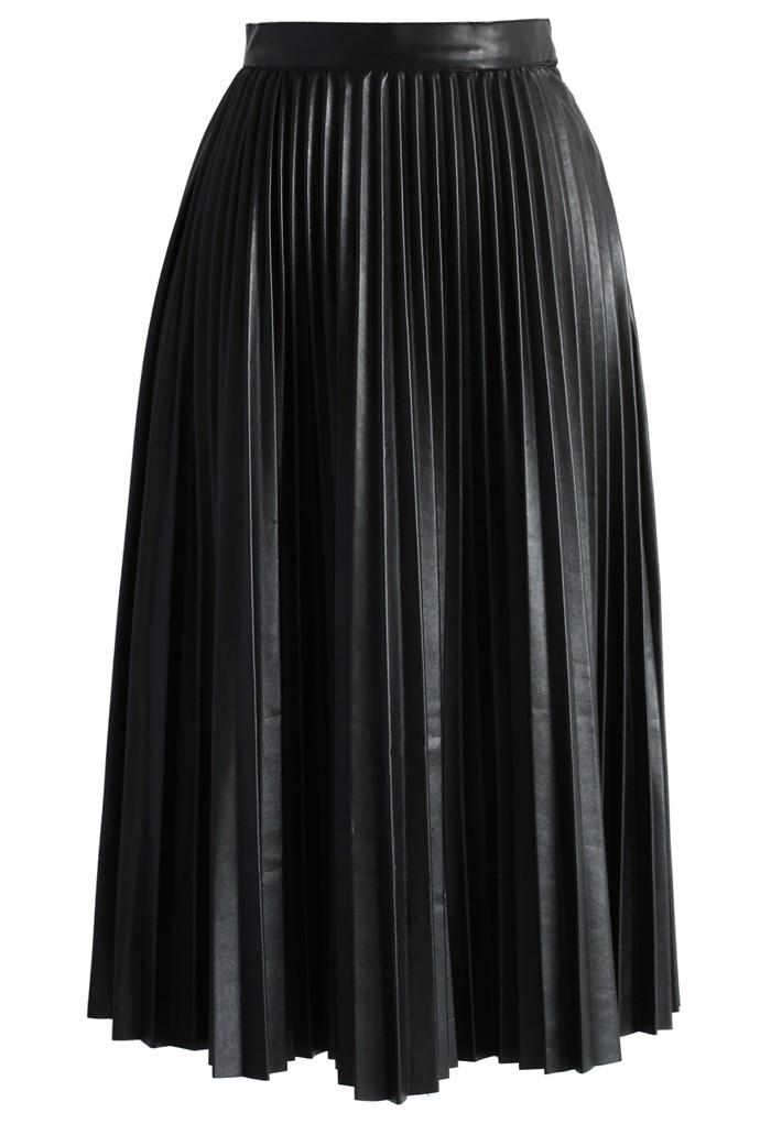 Pleated Faux Leather Midi Skirt in Black - Retro, Indie and Unique Fashion