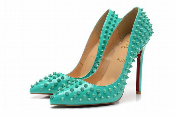 shoes christian louboutin mint tiffany blue heels pumps studded shoes
