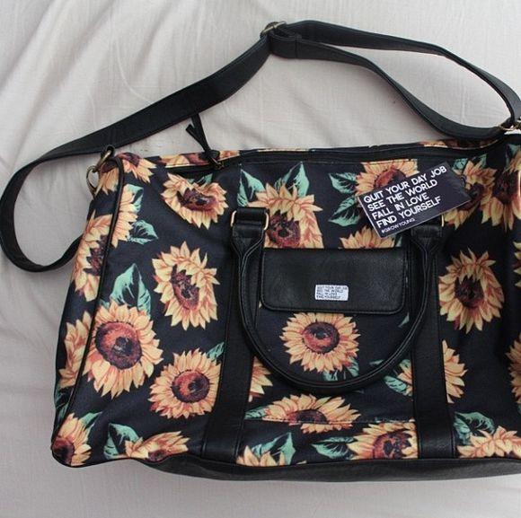 sunflower bag purse jac vanek tote bag sunflower bag hipster indie floral bag travel bag hipster bag indie bag sunflower purse floral black black purse