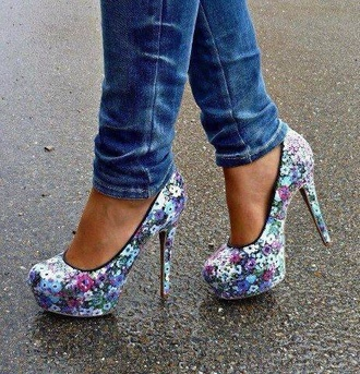 shoes flowers high heels summer spring floral high heels cute heels