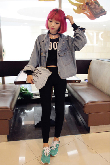 acid wash jeans grunge jacket jeans jacket, grey harajuku japanese korean fashion