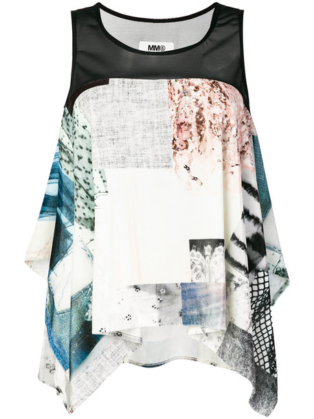 Mm6 Maison Margiela top sleeveless top patchwork sleeveless women spandex blue