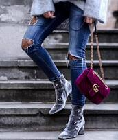 shoes,tumblr,boots,grey boots,embellished,velvet,velvet shoes,velvet boots,ankle boots,bag,gucci,gucci bag,chain bag,designer bag,jeans,denim,blue jeans,ripped jeans,tights,net tights,fishnet tights,quilted bag,velvet bag