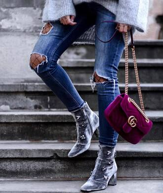 shoes tumblr boots grey boots embellished velvet velvet shoes velvet boots ankle boots bag gucci gucci bag chain bag designer bag jeans denim blue jeans ripped jeans tights net tights fishnet tights quilted bag velvet bag