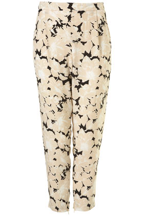Black shadow floral print tapered trousers