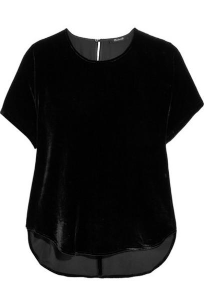 Madewell t-shirt shirt t-shirt black velvet top
