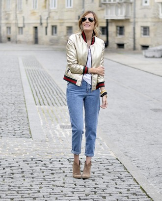 rebel attitude blogger jacket jeans shoes bomber jacket ankle boots booties fall outfits