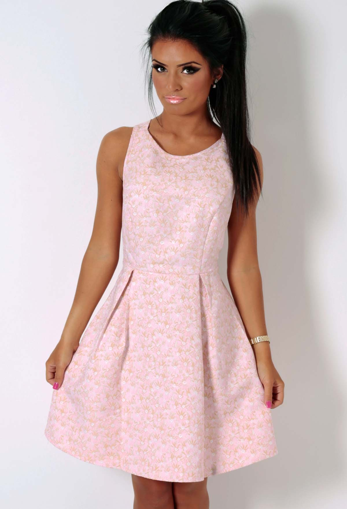 Jitterbug Pink and Gold Textured Floral Skater Dress | Pink Boutique