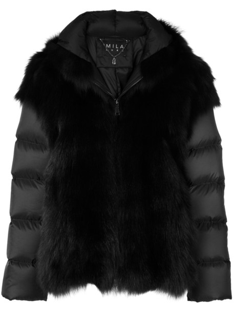 jacket fur jacket fur fox women black