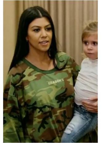 sweater sweatshirt oversized sweater camouflage kourtney kardashian keeping up with the kardashians kardashians