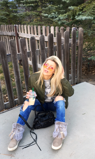 love maegan blogger jeans sweater jacket shoes bag sunglasses boots bomber jacket army green jacket winter outfits