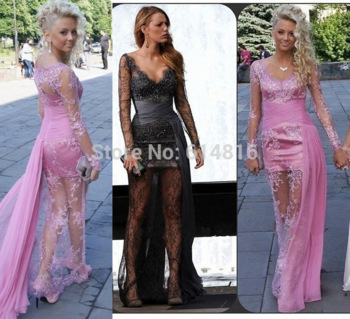 Aliexpress.com : buy gossip girl blake lively sexy v neck sheer lace long prom dresses 2014 rosy long sleeve see through girls party gowns from reliable gown evening dress suppliers on suzhou babyonlinedress co.,ltd